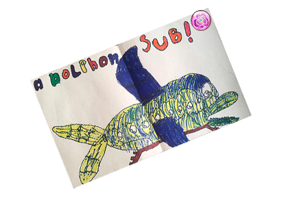 My childhood drawing of a dolphin submarine