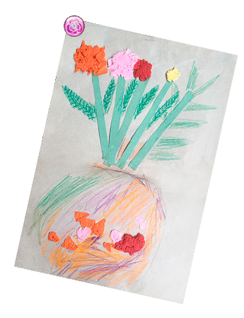 Childhood mixed media drawing of flowers in a vase