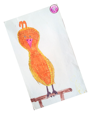 My childhood drawing of a golden phoenix
